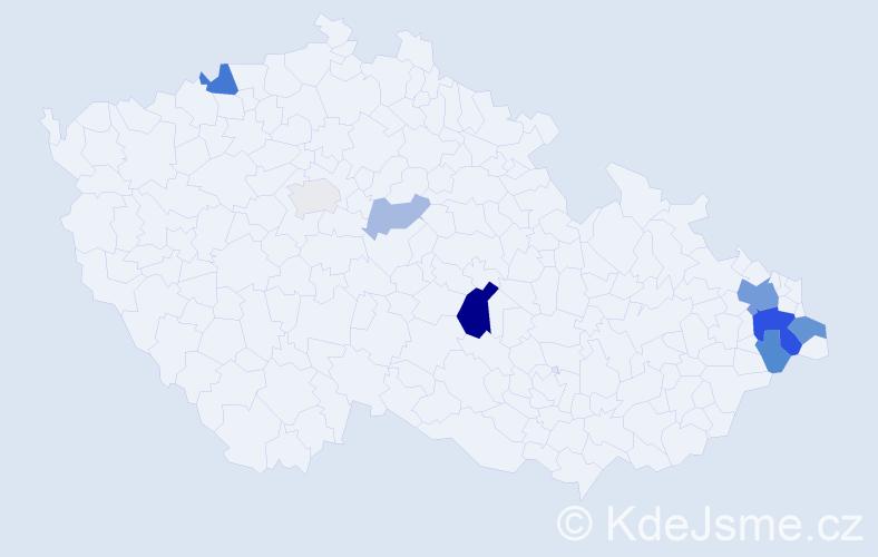 Příjmení: 'Glajcová', počet výskytů 22 v celé ČR