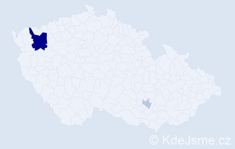 """Příjmení: '""""El Tobgi""""', počet výskytů 4 v celé ČR"""