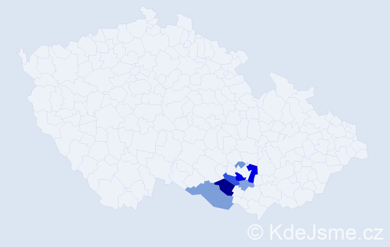 Příjmení: 'Hellarová', počet výskytů 17 v celé ČR