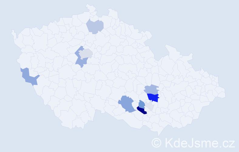 Příjmení: 'Hedl', počet výskytů 21 v celé ČR