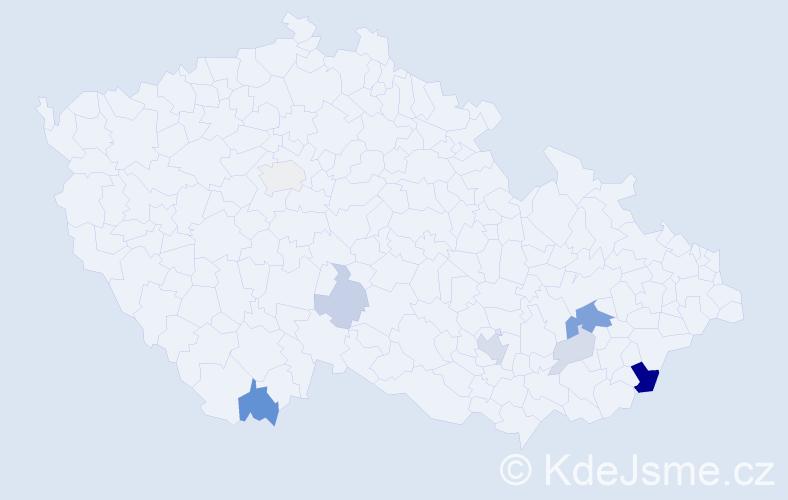 Příjmení: 'Behanec', počet výskytů 19 v celé ČR