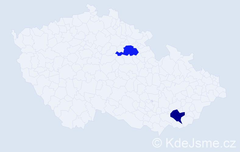 Příjmení: 'Desmet', počet výskytů 2 v celé ČR