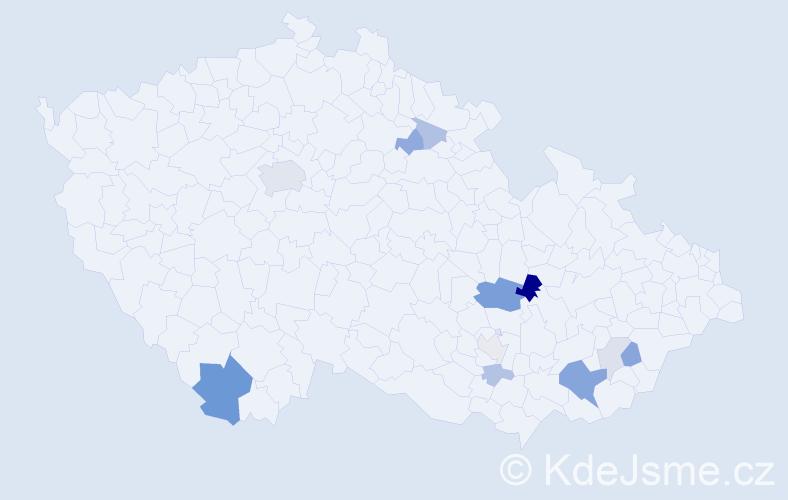 Příjmení: 'Ebnerová', počet výskytů 28 v celé ČR