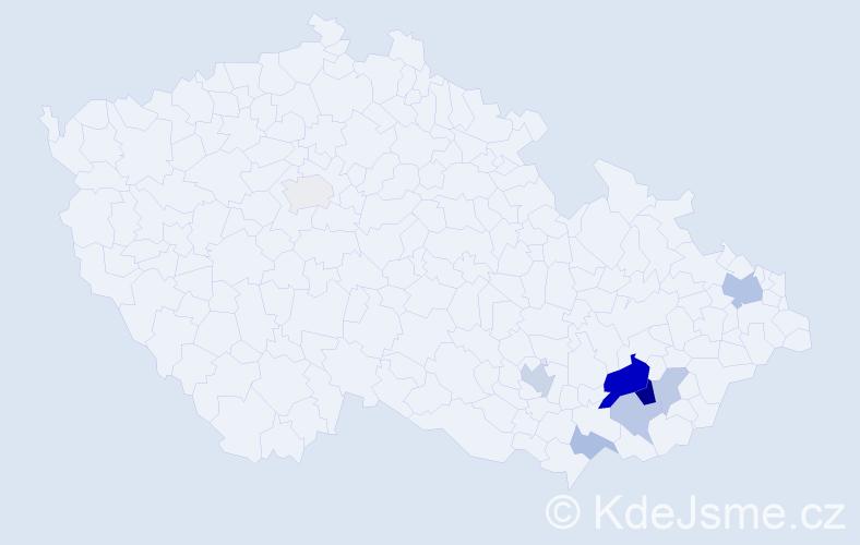 Příjmení: 'Kníchalová', počet výskytů 20 v celé ČR