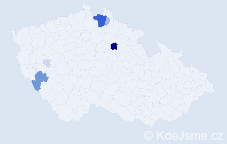 Příjmení: 'Janďura', počet výskytů 13 v celé ČR
