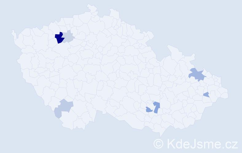 Příjmení: 'Dovala', počet výskytů 19 v celé ČR