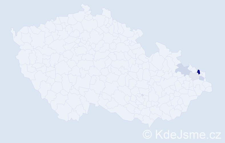 Příjmení: 'Bajda', počet výskytů 8 v celé ČR