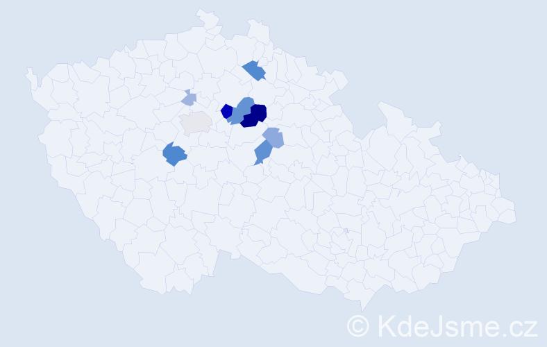 Příjmení: 'Kňapová', počet výskytů 25 v celé ČR