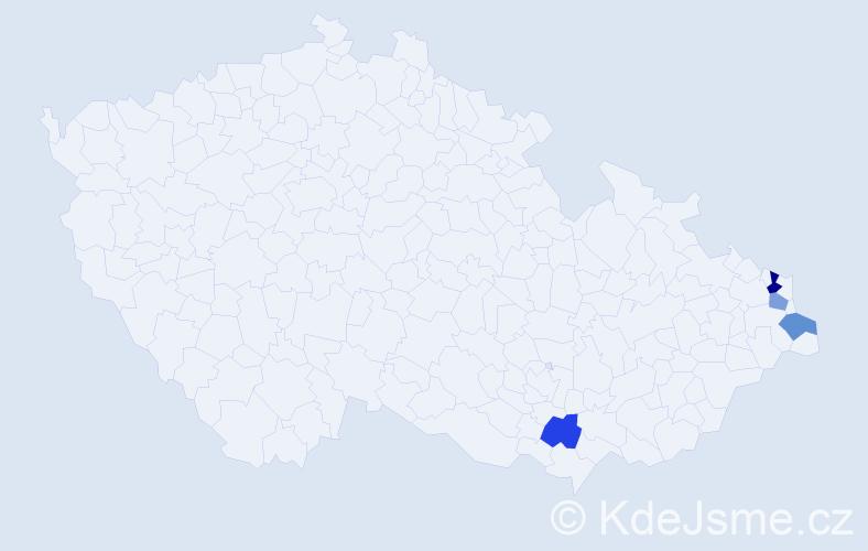 Příjmení: 'Čač', počet výskytů 5 v celé ČR