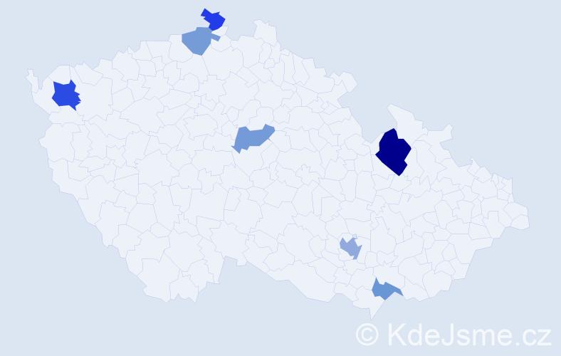 Příjmení: 'Koss', počet výskytů 11 v celé ČR