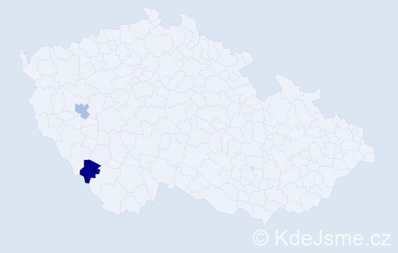 Příjmení: 'Eglseder', počet výskytů 2 v celé ČR