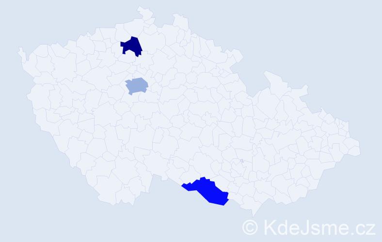 Příjmení: 'Alić', počet výskytů 4 v celé ČR