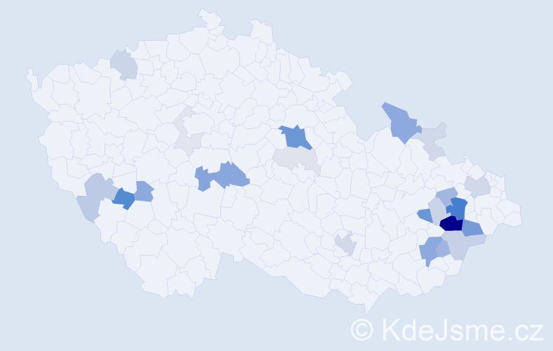 Příjmení: 'Čáňová', počet výskytů 79 v celé ČR