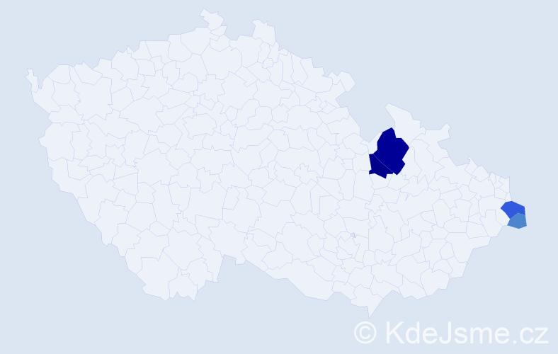 Příjmení: 'Hruba', počet výskytů 13 v celé ČR
