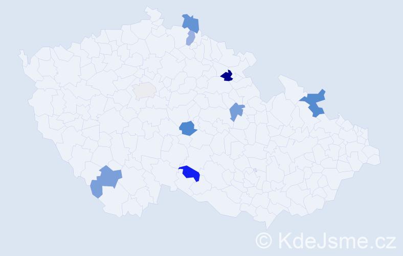 Příjmení: 'Kisil', počet výskytů 11 v celé ČR