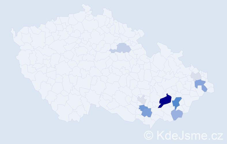 Příjmení: 'Guricová', počet výskytů 19 v celé ČR