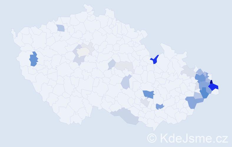 Příjmení: 'Bojdová', počet výskytů 147 v celé ČR