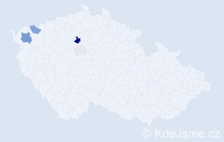 Příjmení: 'Černáč', počet výskytů 10 v celé ČR