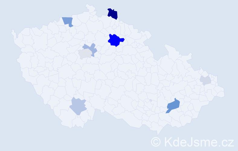 Příjmení: 'Heyda', počet výskytů 14 v celé ČR