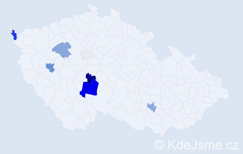 Příjmení: 'Dařenová', počet výskytů 17 v celé ČR