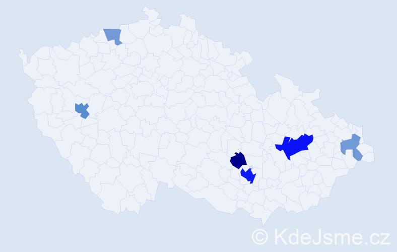 Příjmení: 'Hirschner', počet výskytů 15 v celé ČR