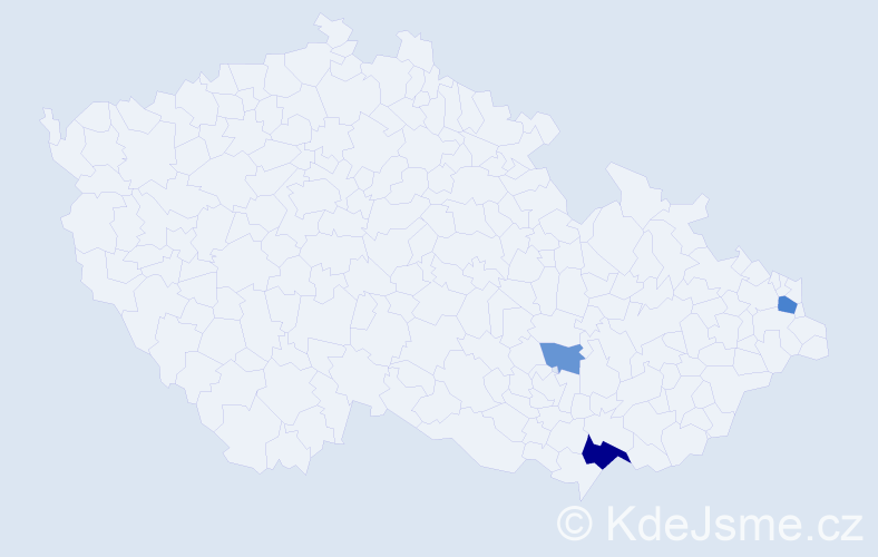 Příjmení: 'Ichnátyiková', počet výskytů 6 v celé ČR