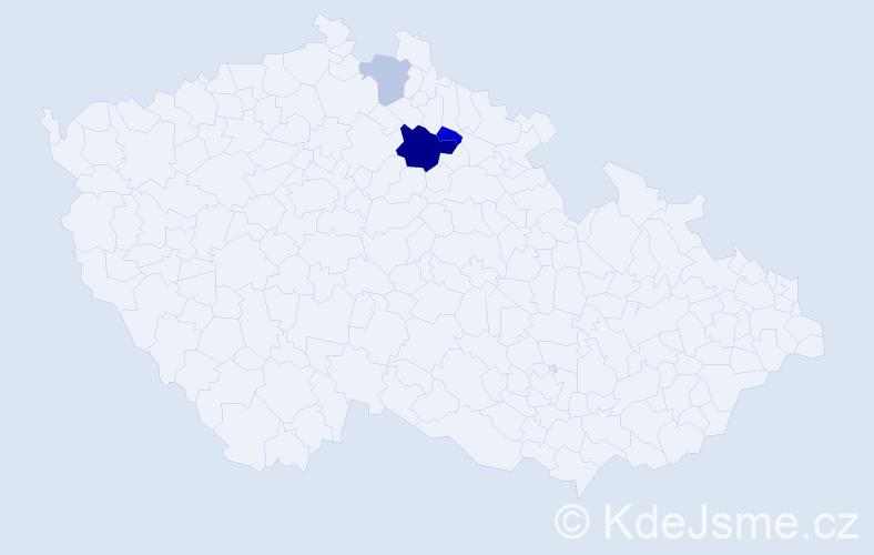 Příjmení: 'Kejzralová', počet výskytů 6 v celé ČR