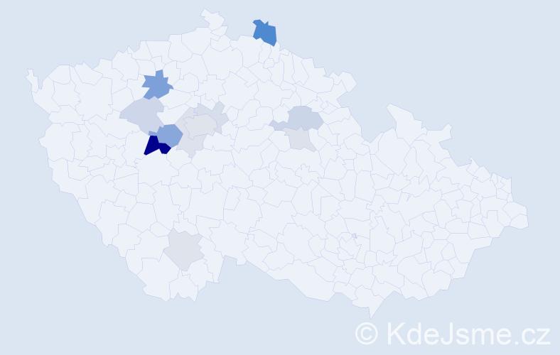 Příjmení: 'Kepr', počet výskytů 29 v celé ČR