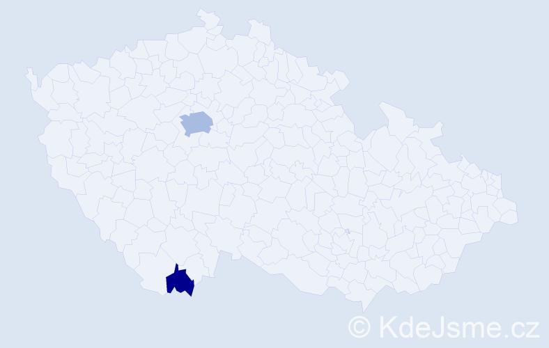 Příjmení: 'Gutierrezová', počet výskytů 6 v celé ČR