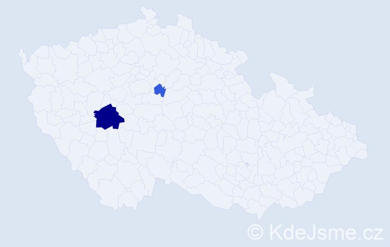 Příjmení: 'Lác', počet výskytů 7 v celé ČR