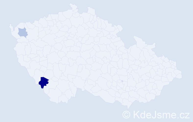 Příjmení: 'Emmichová', počet výskytů 3 v celé ČR