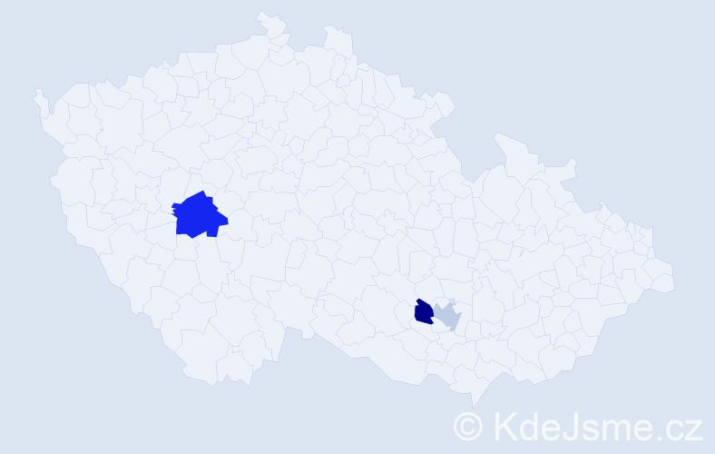 Příjmení: 'Jardeková', počet výskytů 8 v celé ČR