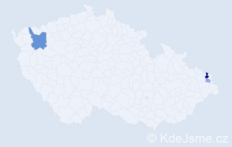 Příjmení: 'Állóová', počet výskytů 6 v celé ČR