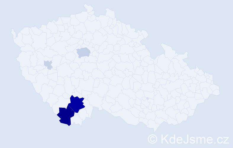 Příjmení: 'Farabauerová', počet výskytů 21 v celé ČR