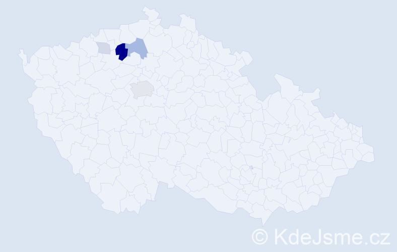 Příjmení: 'Ellmannová', počet výskytů 13 v celé ČR