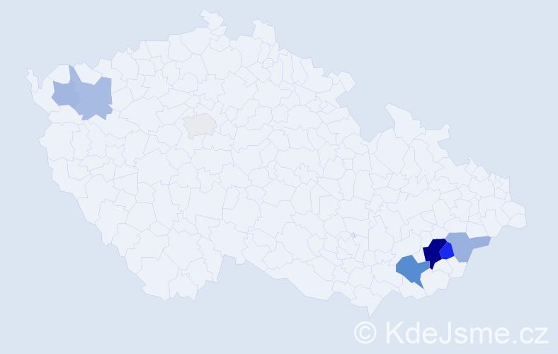 Příjmení: 'Gresl', počet výskytů 15 v celé ČR