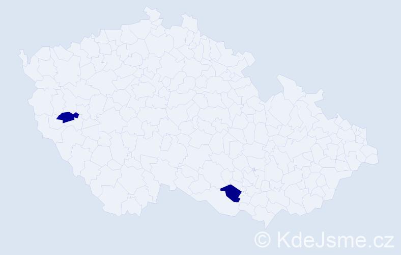 Příjmení: 'Koupílek', počet výskytů 2 v celé ČR