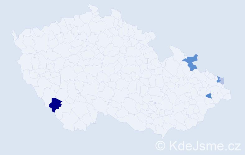 Příjmení: 'Hujda', počet výskytů 8 v celé ČR