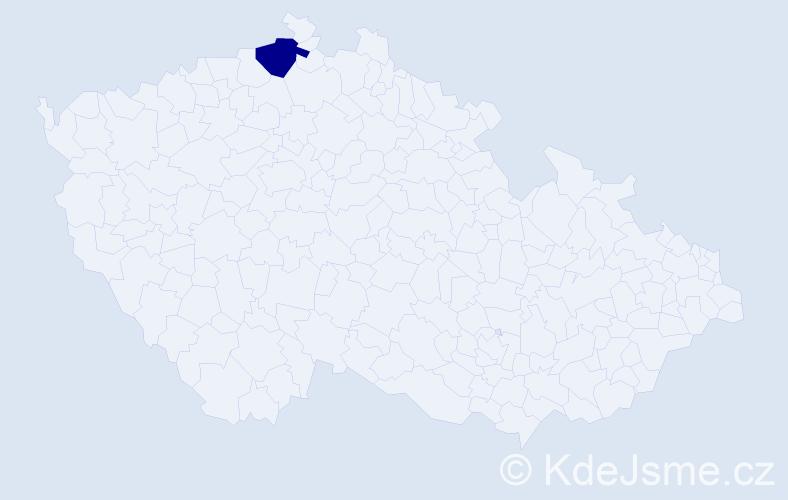 """Příjmení: '""""Kaulfuss Randáková""""', počet výskytů 1 v celé ČR"""