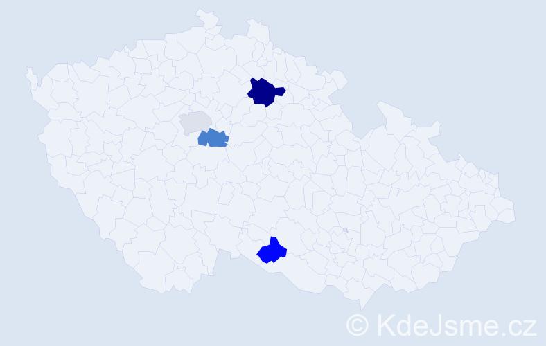 Příjmení: 'Kanaval', počet výskytů 13 v celé ČR