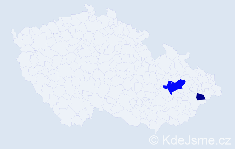 Příjmení: 'Gábrlíková', počet výskytů 7 v celé ČR
