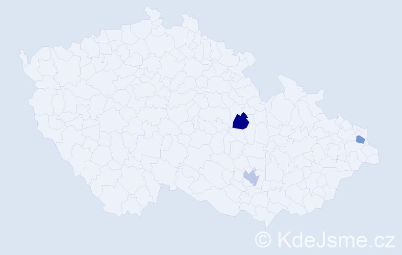 Příjmení: 'Dubač', počet výskytů 3 v celé ČR