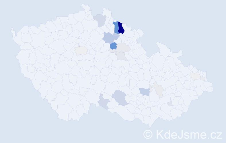 Příjmení: 'Forbelský', počet výskytů 65 v celé ČR