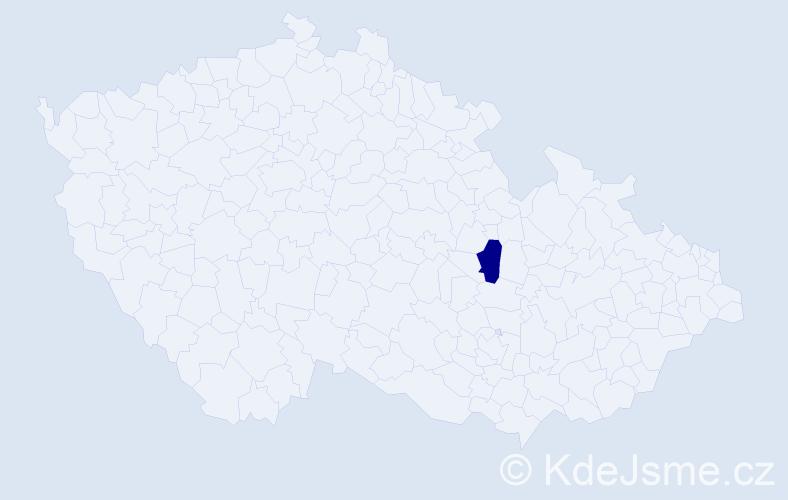 """Příjmení: '""""Ilčíková Abrahamová""""', počet výskytů 1 v celé ČR"""