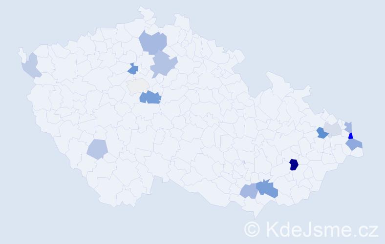 Příjmení: 'Huta', počet výskytů 32 v celé ČR