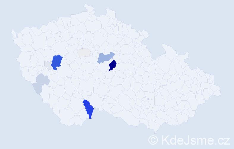 Příjmení: 'Knittich', počet výskytů 24 v celé ČR