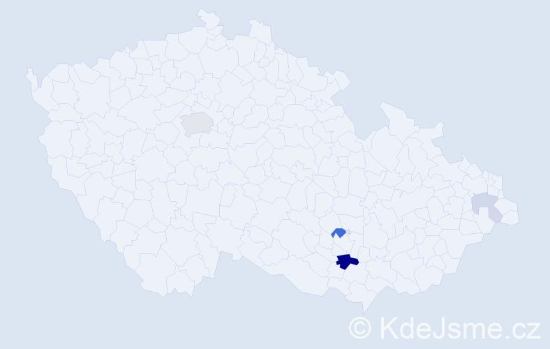 Příjmení: 'Ledba', počet výskytů 11 v celé ČR