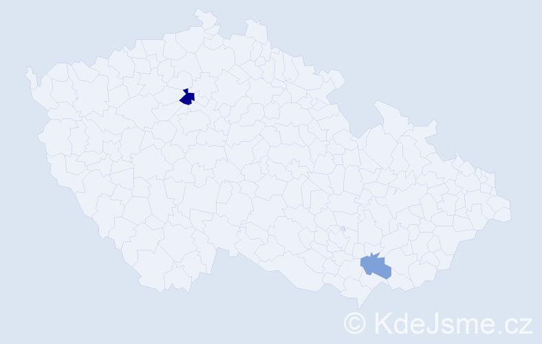Příjmení: 'Balžanková', počet výskytů 3 v celé ČR