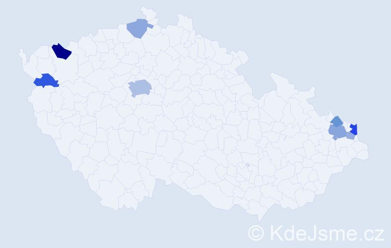 Příjmení: 'Fero', počet výskytů 18 v celé ČR