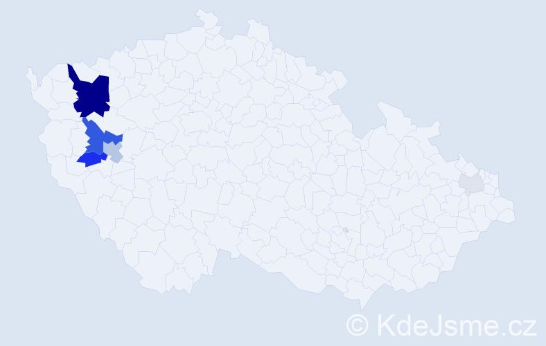Příjmení: 'Čábalová', počet výskytů 19 v celé ČR